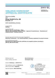 Welding certification from DNV-GL