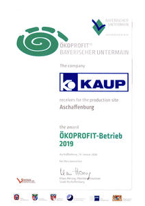 "The current ""Öko-Profit""-certificate of KAUP"